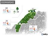2020年06月24日の島根県の実況天気