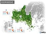 2020年06月24日の山口県の実況天気