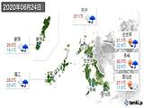 2020年06月24日の長崎県の実況天気