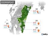 2020年06月24日の宮崎県の実況天気