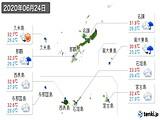 2020年06月24日の沖縄県の実況天気