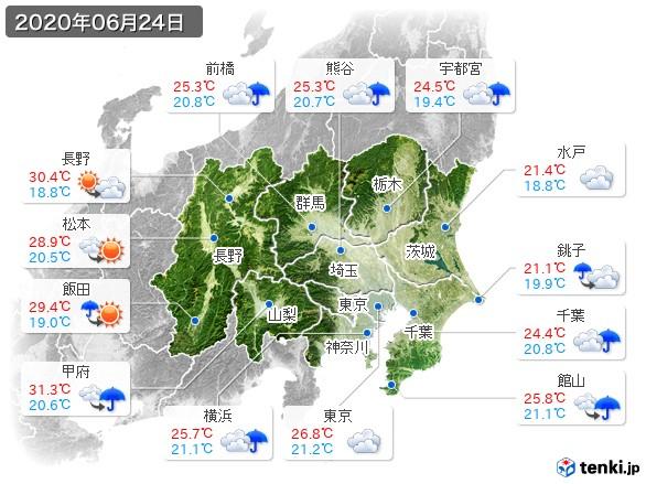 関東・甲信地方(2020年06月24日の天気
