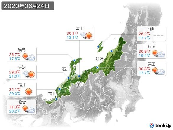 北陸地方(2020年06月24日の天気