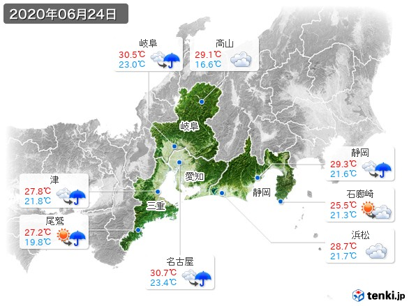 東海地方(2020年06月24日の天気