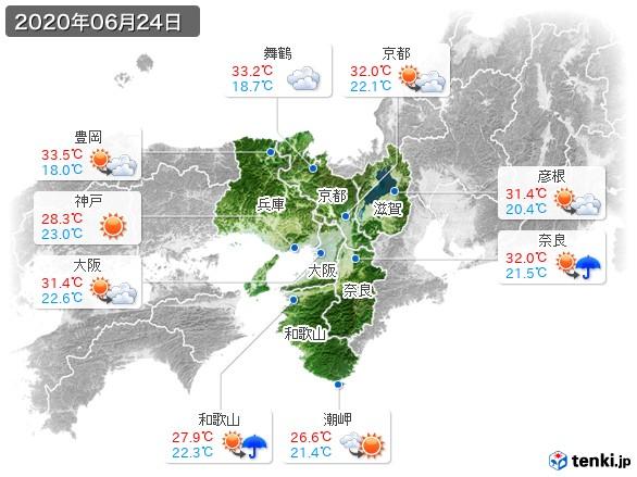 近畿地方(2020年06月24日の天気