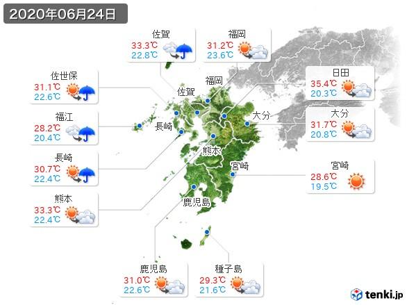 九州地方(2020年06月24日の天気