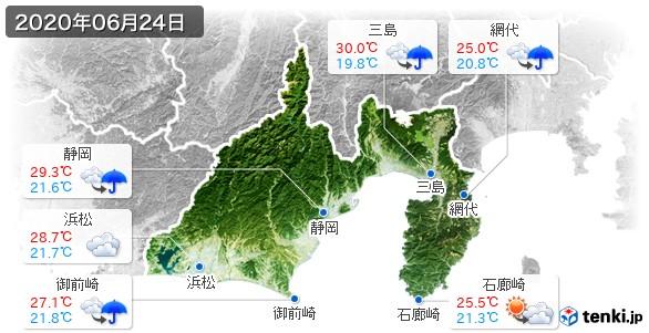 静岡県(2020年06月24日の天気