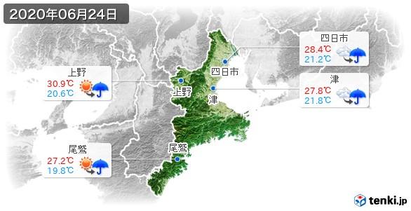 三重県(2020年06月24日の天気