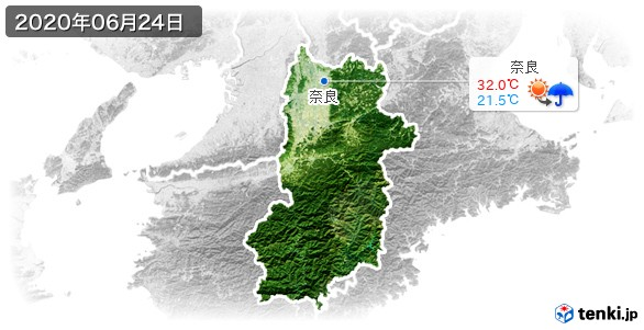 奈良県(2020年06月24日の天気