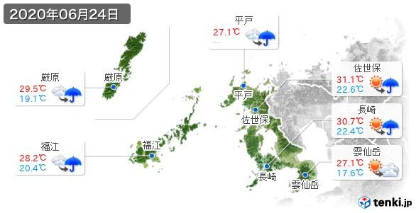 長崎県(2020年06月24日の天気