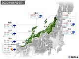 2020年06月25日の北陸地方の実況天気