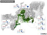 2020年06月25日の東海地方の実況天気