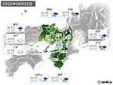 2020年06月25日の近畿地方の実況天気