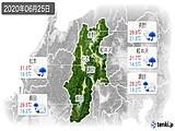 2020年06月25日の長野県の実況天気