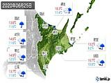 2020年06月25日の道東の実況天気