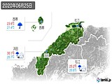 2020年06月25日の島根県の実況天気