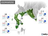 2020年06月25日の道南の実況天気