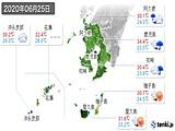 2020年06月25日の鹿児島県の実況天気