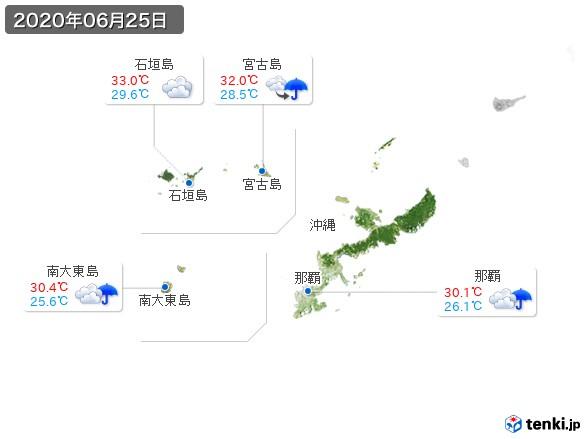 沖縄地方(2020年06月25日の天気