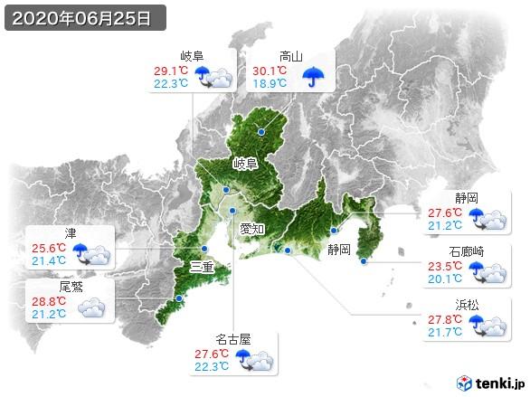 東海地方(2020年06月25日の天気