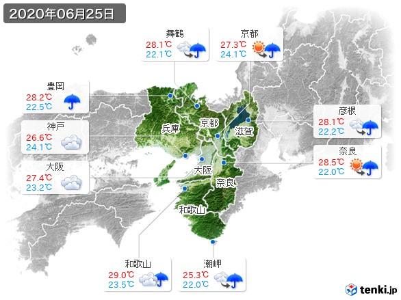 近畿地方(2020年06月25日の天気