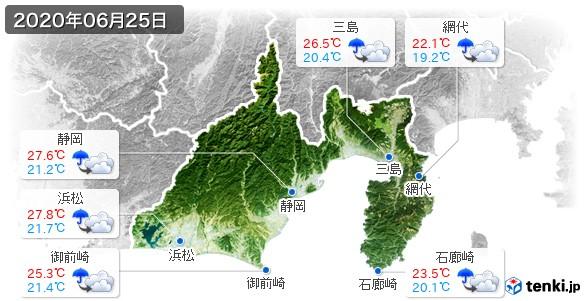 静岡県(2020年06月25日の天気