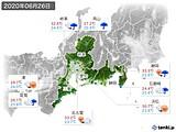 2020年06月26日の東海地方の実況天気