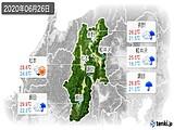 2020年06月26日の長野県の実況天気