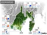 2020年06月26日の静岡県の実況天気