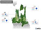 2020年06月26日の青森県の実況天気