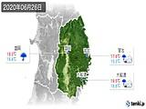 2020年06月26日の岩手県の実況天気