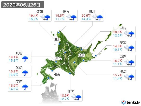 北海道地方(2020年06月26日の天気