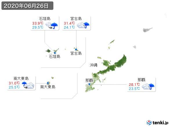 沖縄地方(2020年06月26日の天気
