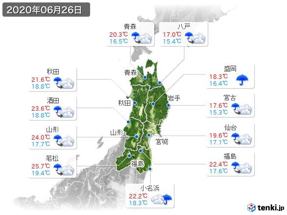 東北地方(2020年06月26日の天気