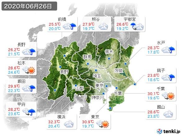 関東・甲信地方(2020年06月26日の天気