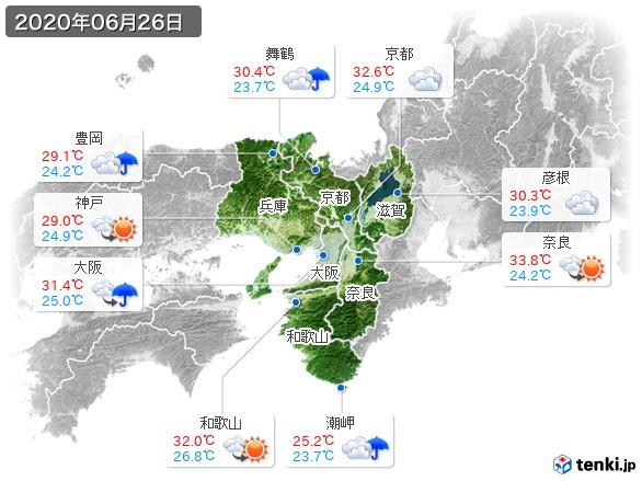 近畿地方(2020年06月26日の天気
