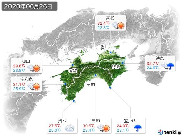 四国地方(2020年06月26日の天気