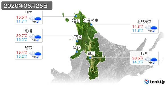 道北(2020年06月26日の天気