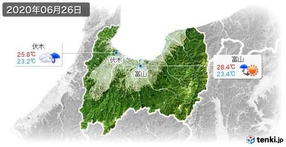 富山県(2020年06月26日の天気