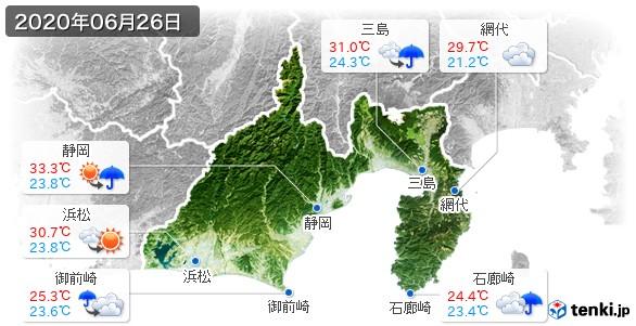 静岡県(2020年06月26日の天気