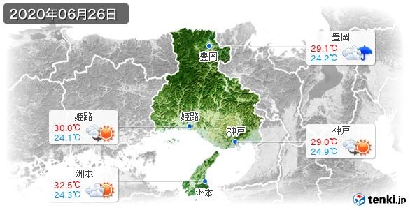 兵庫県(2020年06月26日の天気
