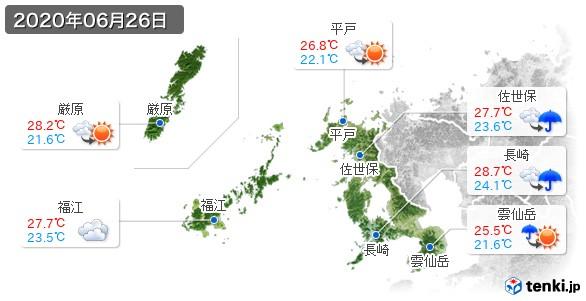 長崎県(2020年06月26日の天気