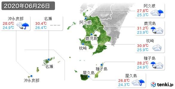 鹿児島県(2020年06月26日の天気