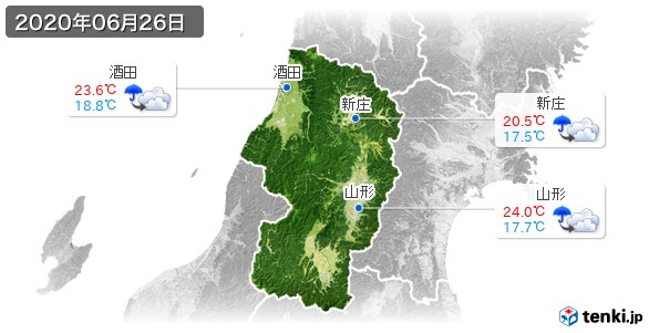 山形県(2020年06月26日の天気
