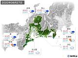 2020年06月27日の東海地方の実況天気