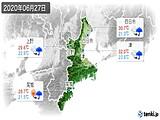 2020年06月27日の三重県の実況天気