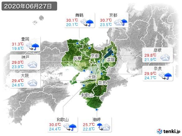 近畿地方(2020年06月27日の天気