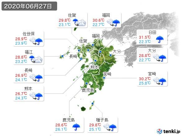 九州地方(2020年06月27日の天気