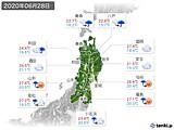 2020年06月28日の東北地方の実況天気