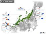 2020年06月28日の北陸地方の実況天気